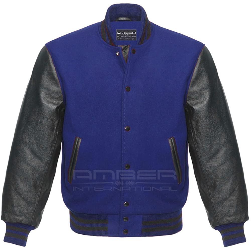 Varsity Letterman Baseball School College University Sportswear Black Genuine Leather & Royal Blue Wool