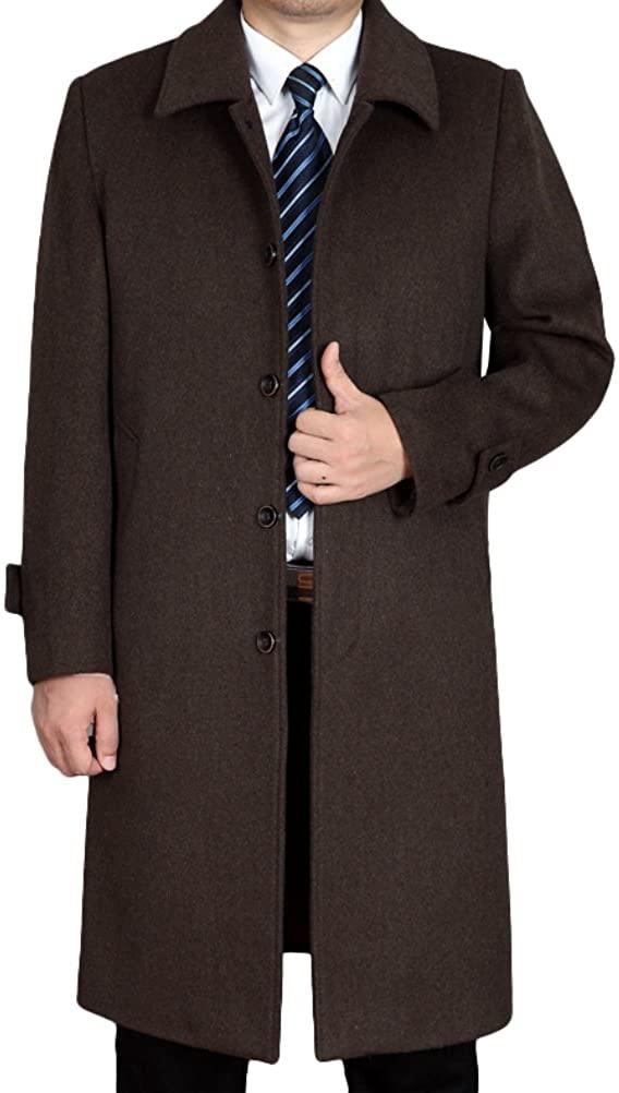 Lavnis Men's Woolen Trench Coat Long Slim Fit Business Outfit Jacket Overcoat