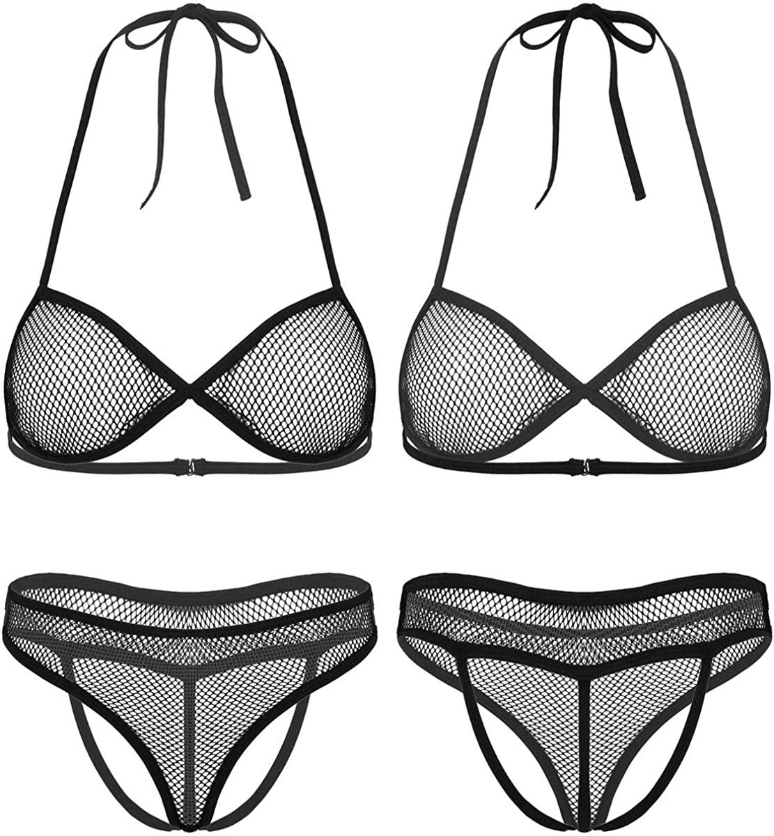 CHICTRY 2Pcs Womens Hot Sheer Fishnet Lingerie Set Deep V Front Bikini Bra Top Crotchless G-String