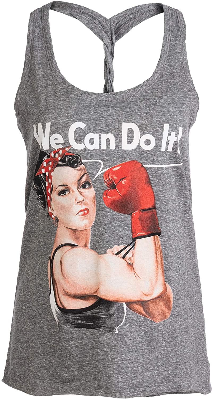 Rosie The Boxer | Funny Riveter Kickboxing Kick Boxing Racerback Tank Top for Women