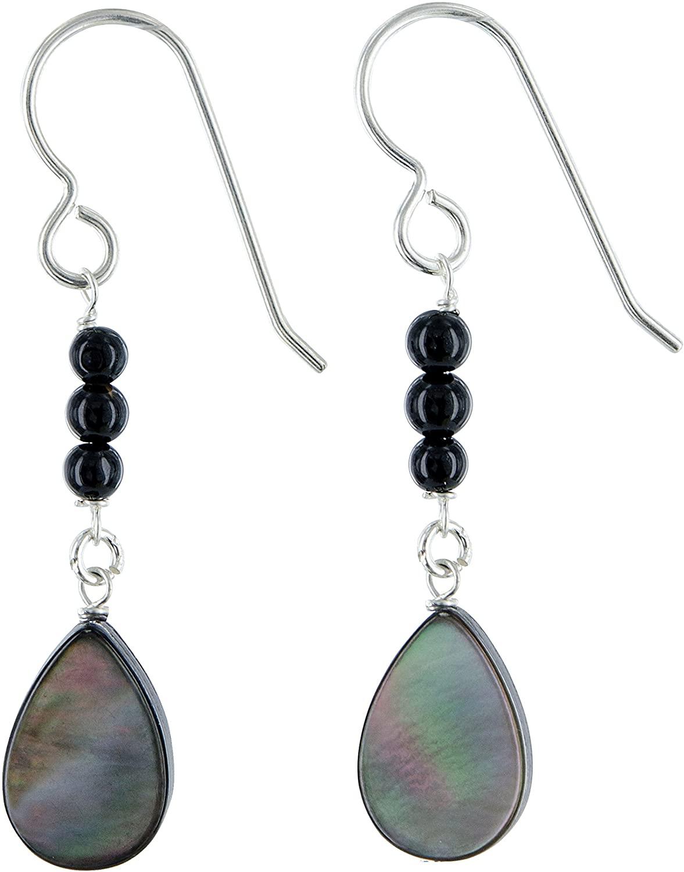 Mother of Freshwater Cultured Pearl Black Onyx Gemstone Sterling Silver Dainty Dangle Black Earrings