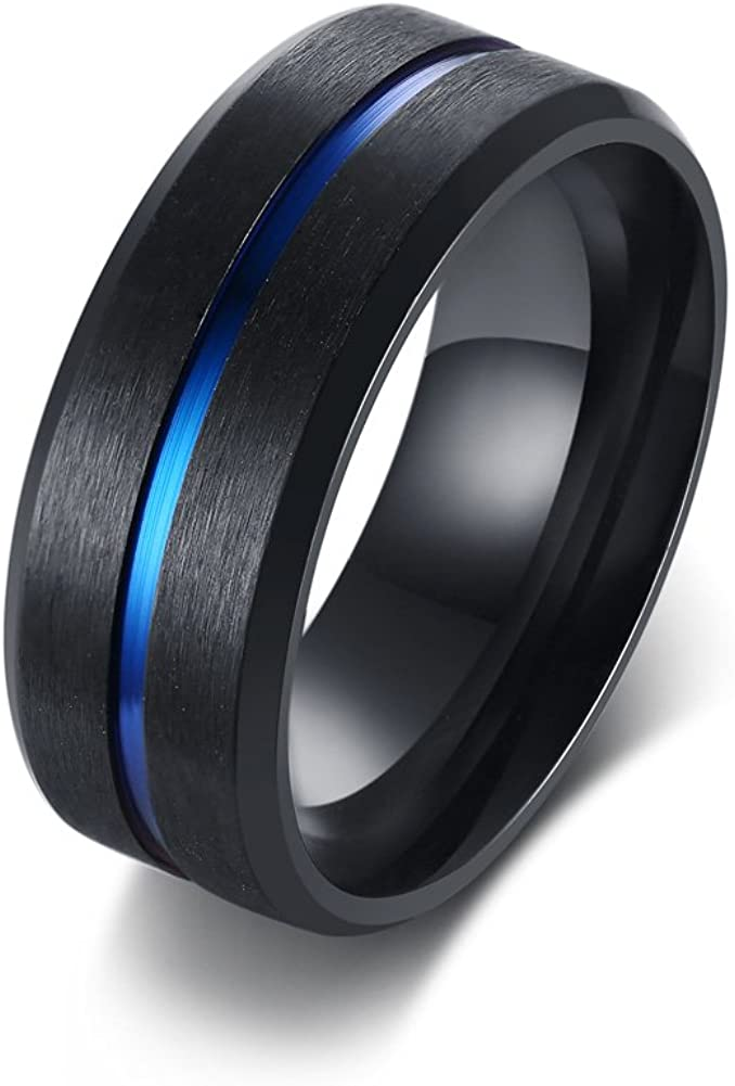 MPRAINBOW Stainless Steel Rings for Men's Boy's Wedding Engagement Promise Middle Blue Line Rings Band rings