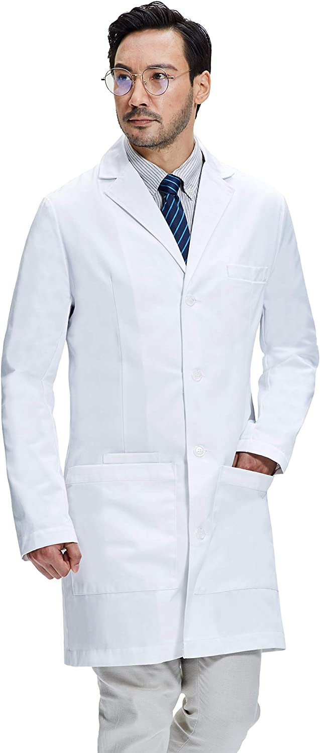 Dr. James Men's Lab Coat, Semi-Tailored Fit, Smartphone and Tablet Pockets, White, 38 Inch Length