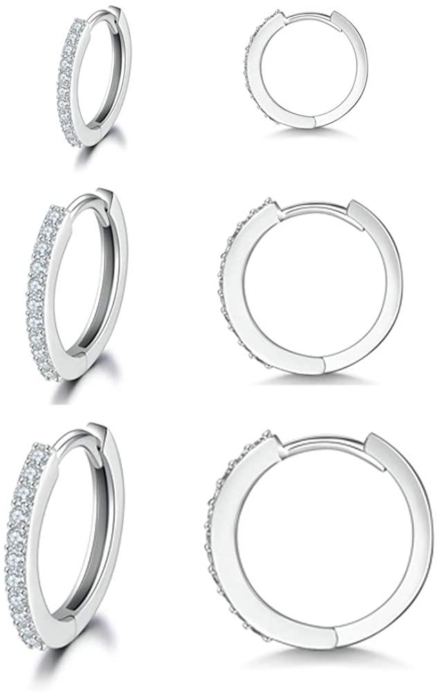 MASOP Sterling Silver Small Hoop Earrings, Hypoallergenic Cartilage Earrings Hoop Cubic Zirconia Cuff Earrings CZ Stud Earrings Piercing Sleeper Earrings for Women Girls Men 8mm 10mm 12mm