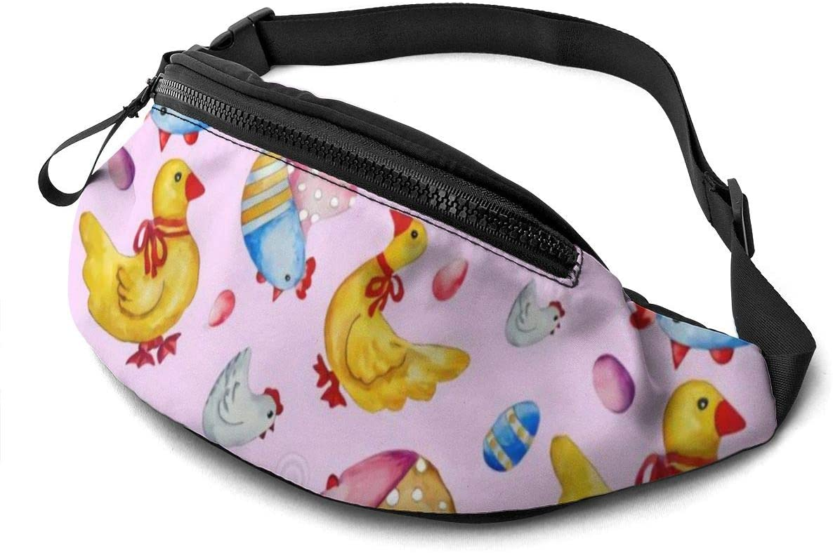 Hens and ducks Fanny Pack for Men Women Waist Pack Bag with Headphone Jack and Zipper Pockets Adjustable Straps