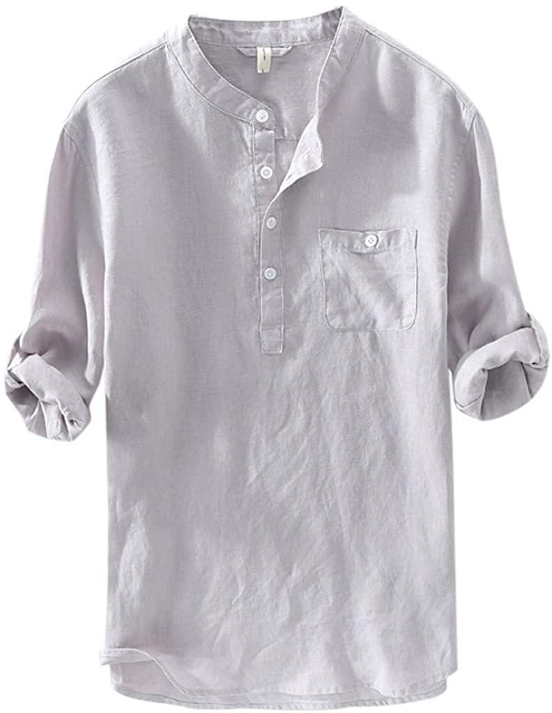 LEKODE Men Shirt Fashion Formal Solid Tee Long Sleeve Pocket Loose Blouse