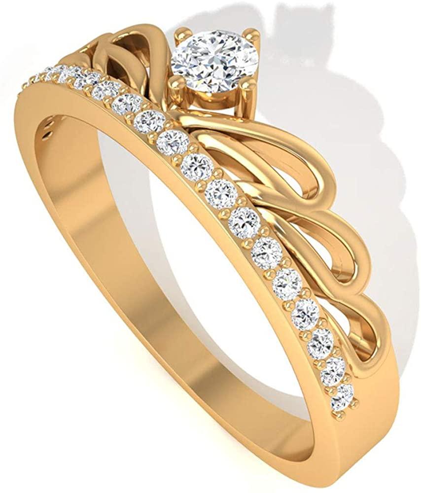 Solid 14K Gold IGI Certified Diamond Crown Engagement Ring, Art Deco Tiara IJ-SI Diamond Bridal Wedding Rings, Anniversary Promise Ring Set for Mother, 14K Yellow Gold, Size:US 9.0