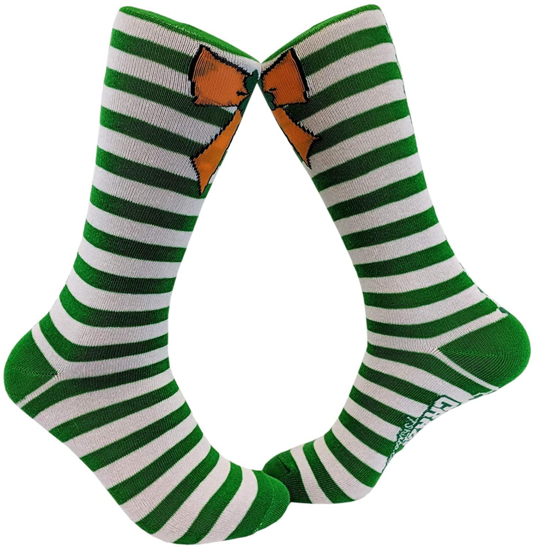 Orange Bow Green Stripe Socks Saint Patricks Day Cute Novelty Fun Patty Outfit