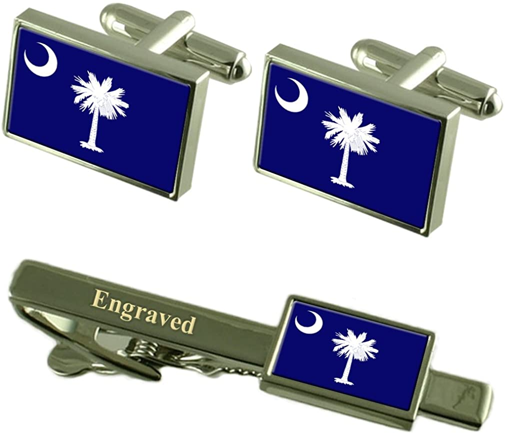 Select Gifts South Carolina Flag Cufflinks Engraved Tie Clip Matching Box Set