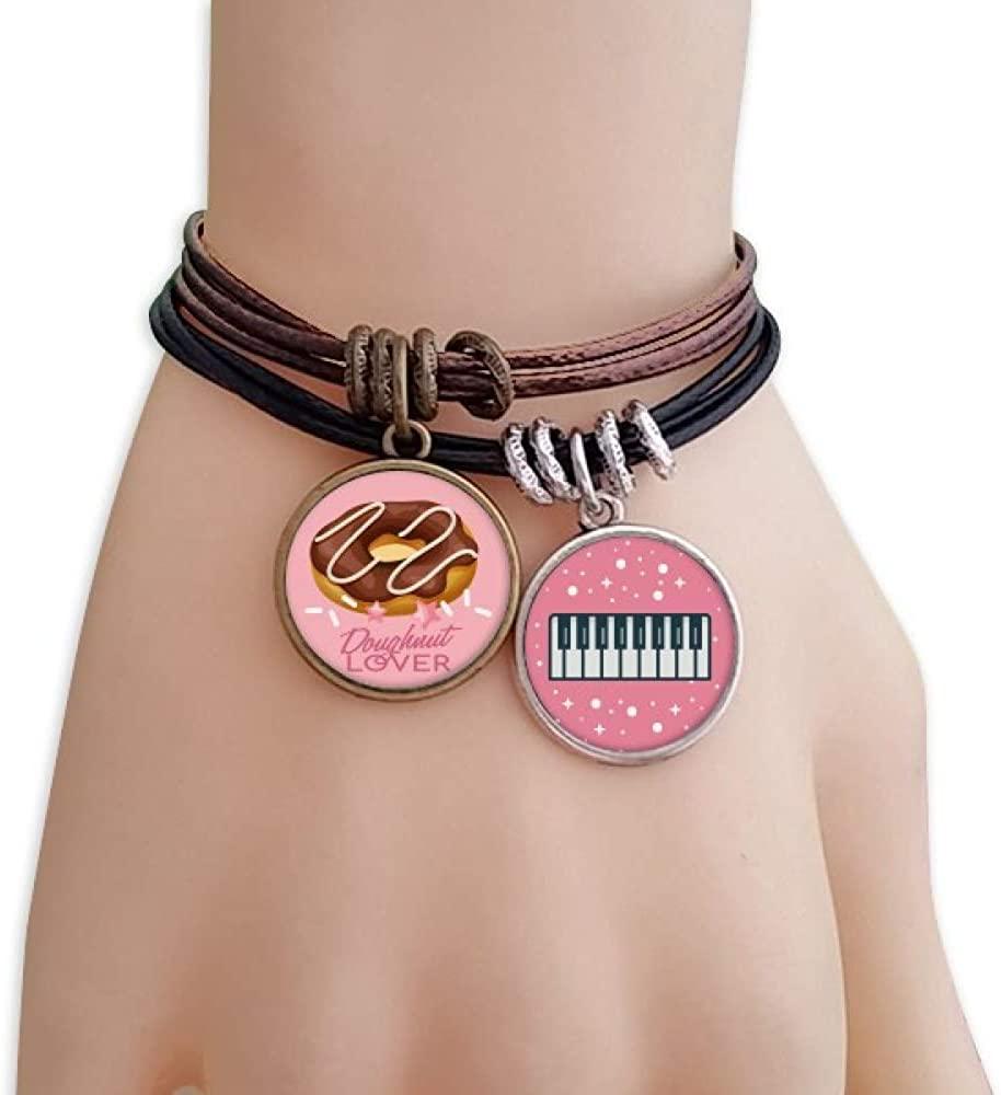 cold master DIY lab Chocolate Doughnut Western Dessert Bracelet Rope Wristband Piano Key Music Charm