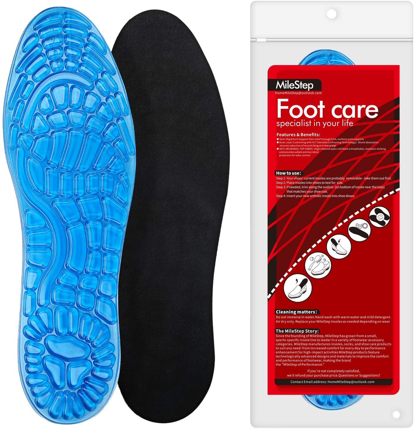Massaging Gel Insoles,MileStep Insoles for Work,Sport,Hiking and Running&More,Silicone,2-Size for Men and Women (Men (4.5-8),Women (4.5-9))