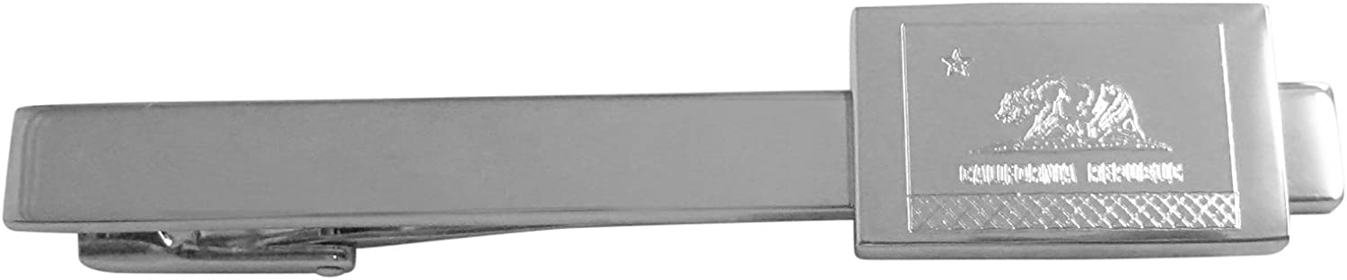 Silver Toned Etched California State Flag Square Tie Clip