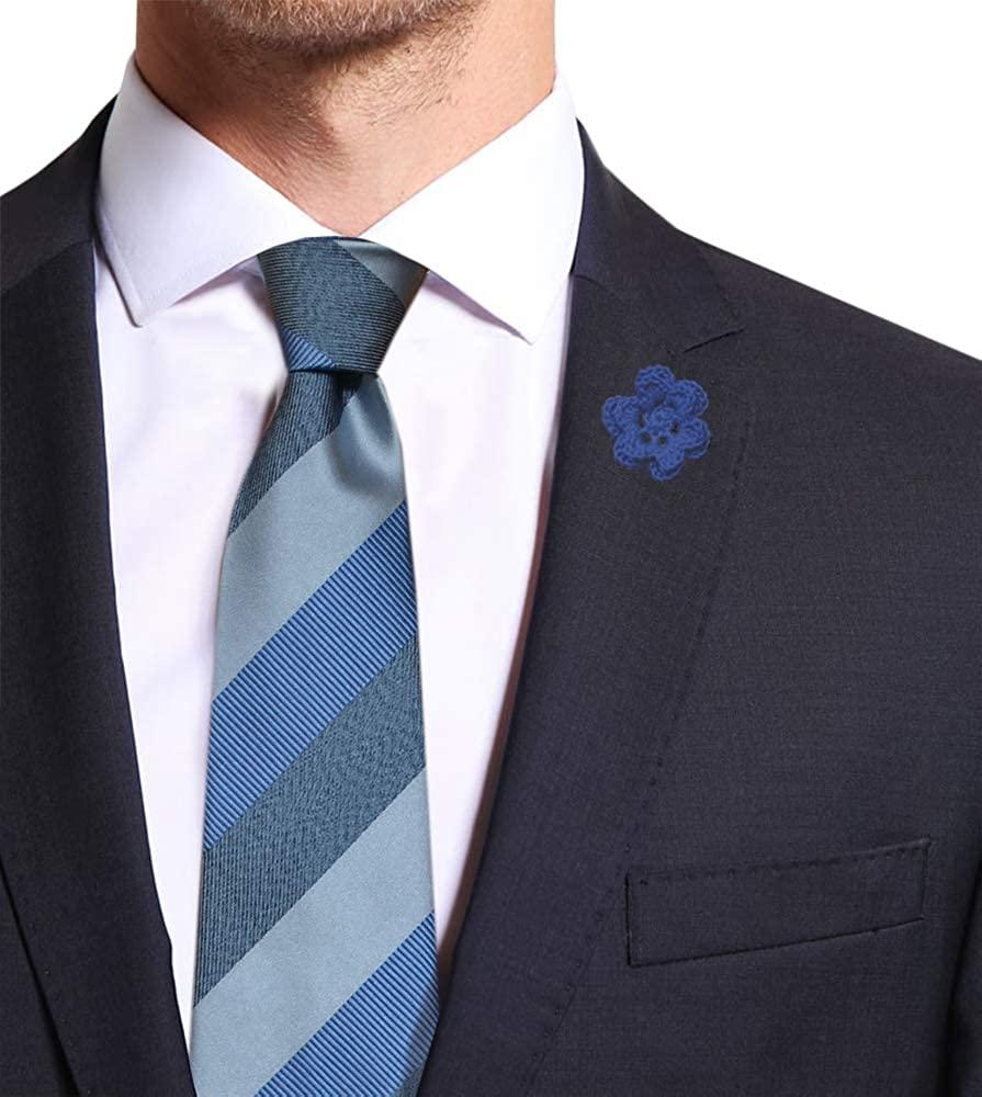 Remo Sartori Made in Italy Men's Light Blue Large Striped Regimental Necktie, 3,14'' Width, Silk
