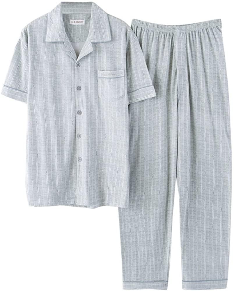 Men ' S Pajama Set,Short Sleeve Cotton Sleepwear Long Button Down Loungewear with Pants
