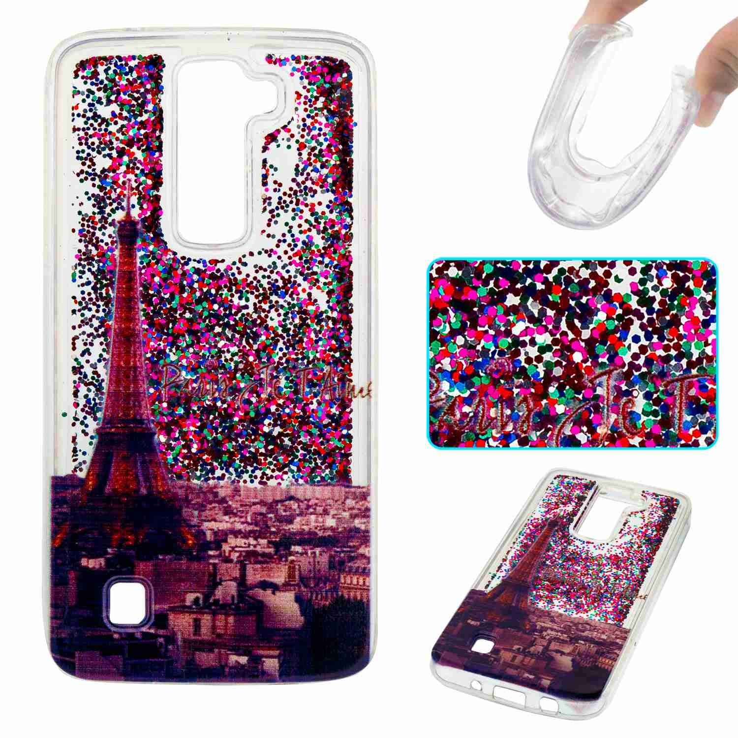 STENES LG K8 Case - 3D Creative Luxury Bling Glitter Sparkle Liquid Case Infused With Glitter and Stars Moving Quicksand Soft Case For LG Phoenix 2 /Escape 3 /LG K8 (2016) - Eiffel Tower