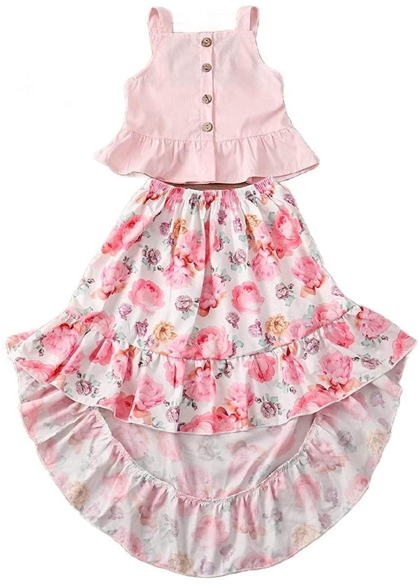 HEFASDM Girls Elegant 2-Pack Print Evening Holiday Skirt Sets for Little Girls