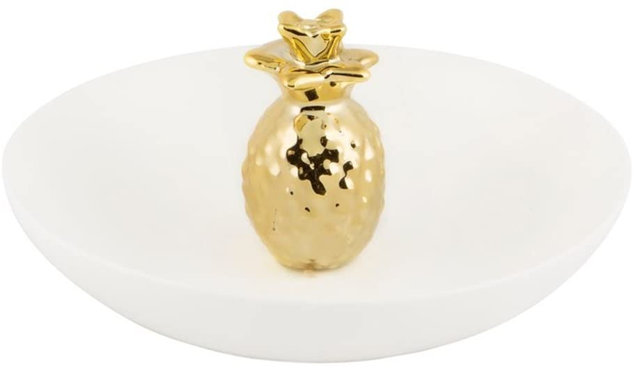 Sass & Belle Ceramic Tropical Pineapple Ring Holder - Jewellery Dish Gold