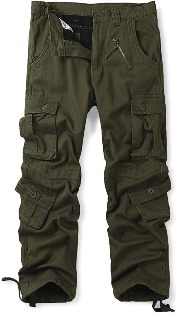 OCHENTA Men's Winter Fleece Lined Cargo Pants, 8 Pockets Casual Workwear