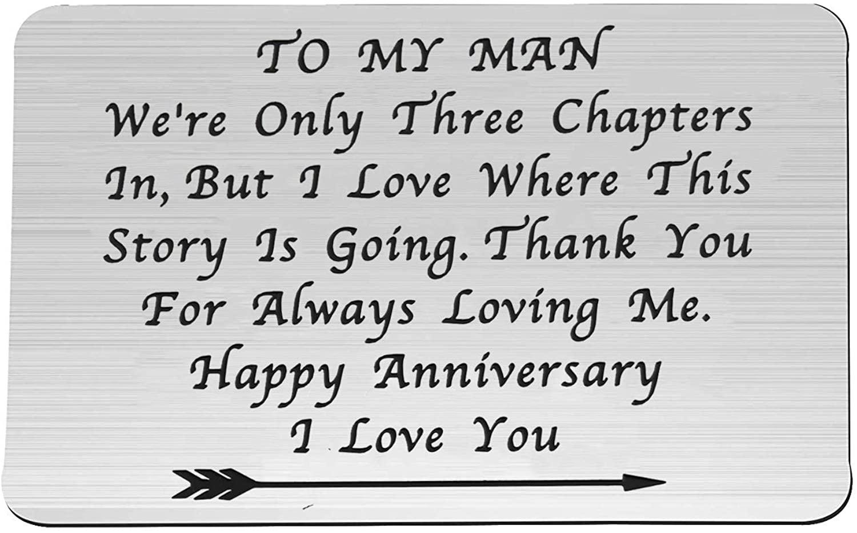 Lywjyb Birdgot 3 Year for Him to My Man Wallet Insert for Boyfriend Husband 6rd Leather Wedding/Dating