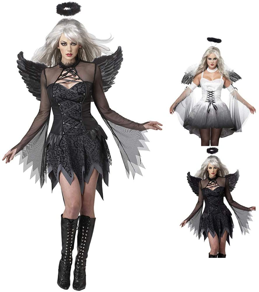 Party Women's Sexy Costumes, Halloween Bar Costumes Holiday Dresses, Dark Angel Wings Cosplay Costumes, Headwear + Wings + Clothes,Black,L