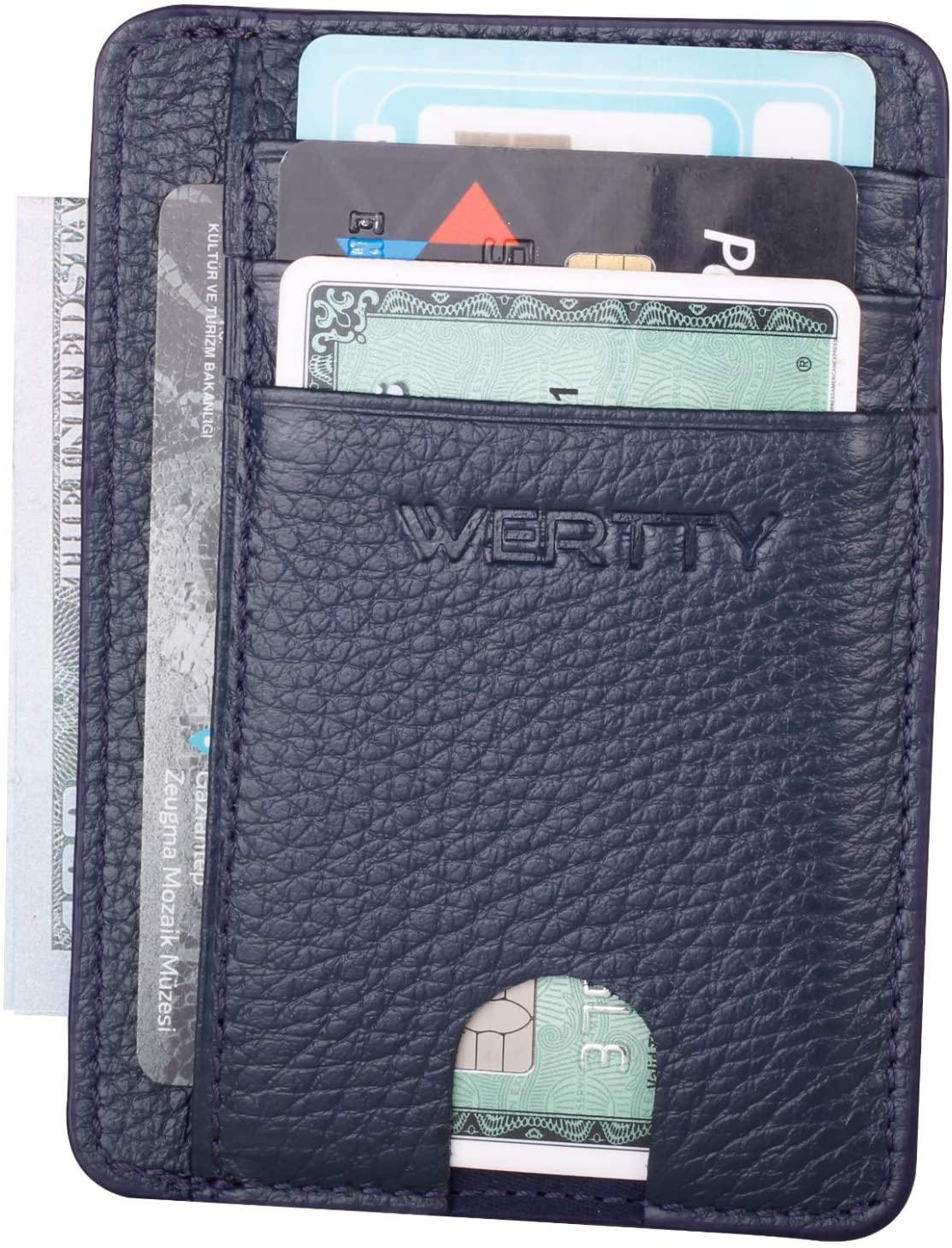 Slim Minimalist Wallets for Men -Credit Card Holder Front Pocket wallets leather