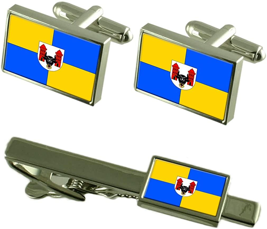 Prerov City Czech Republic Flag Cufflinks Tie Clip Box Gift Set