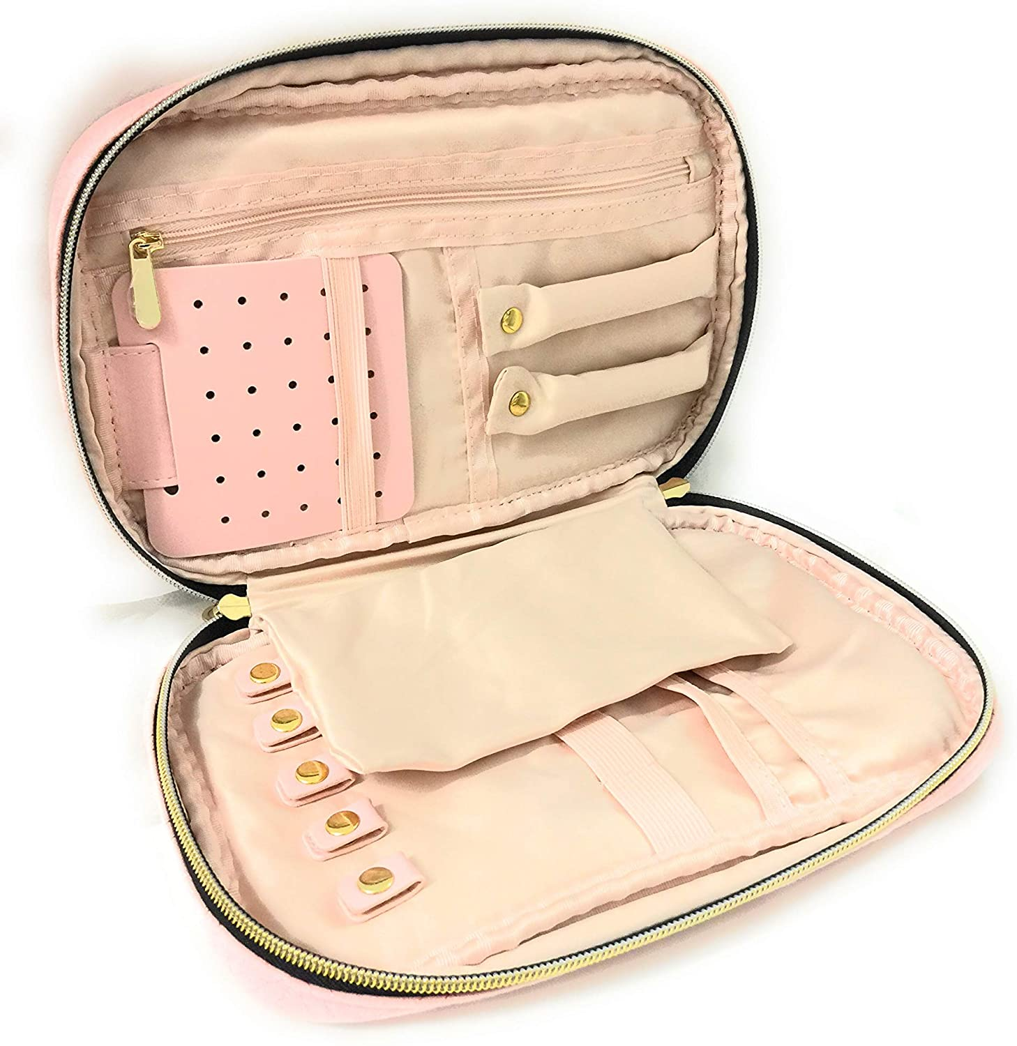Dino and Lotus Travel Jewelry Organizer | Small Jewelry Organizer Box, Jewelry Organizer Box with Functional Compartments for Necklaces, Rings, Earrings, Bracelets, Watches – Soft Pink