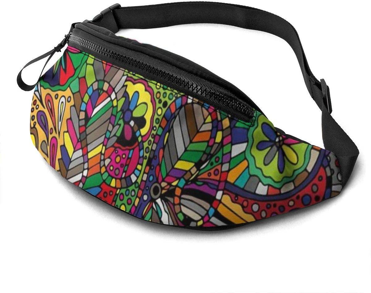 Ethnic Doodles Fanny Pack for Men Women Waist Pack Bag with Headphone Jack and Zipper Pockets Adjustable Straps