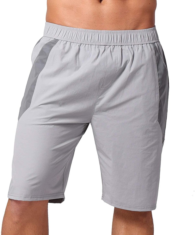 AKFLY Reflective Board Shorts for Walking Casual Elastic Waist Men Drawstring Shorts