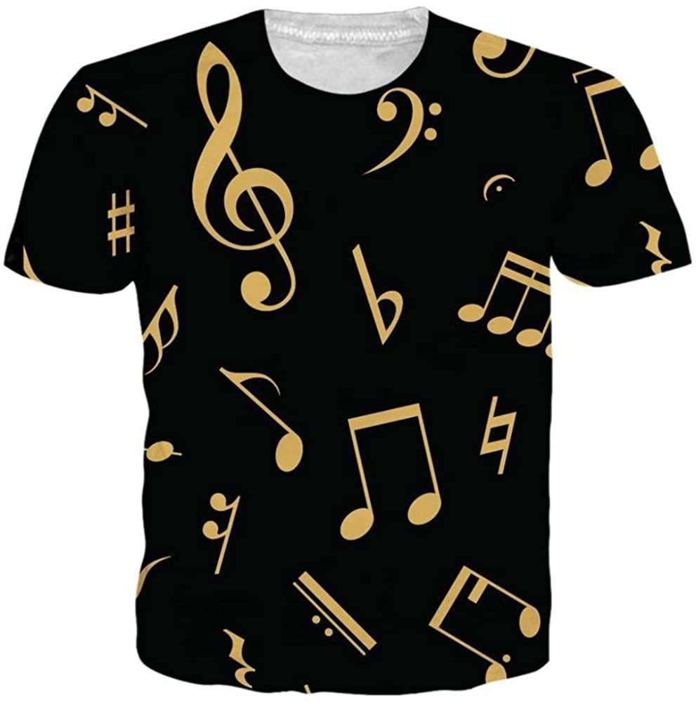 HOSD Summer Dress Digital Printed Musical Notes Short Sleeve T-Shirt Men