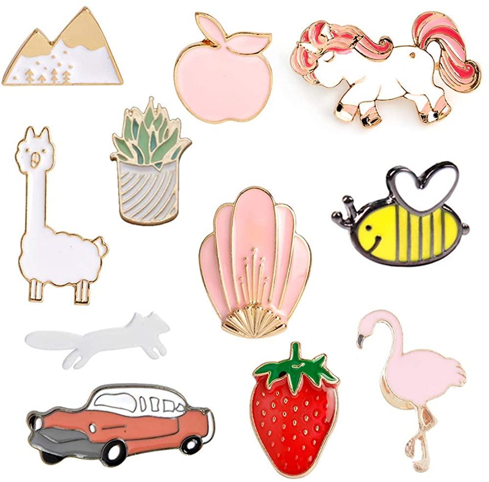 MJartoria 11pcs Car Flamingo Alpaca Novelty Cartoon Enamel Brooch Pins for Backpacks Set Cute Enamel Brooch Pins for Backpacks Set Badges Clothing Bags Jackets (car)