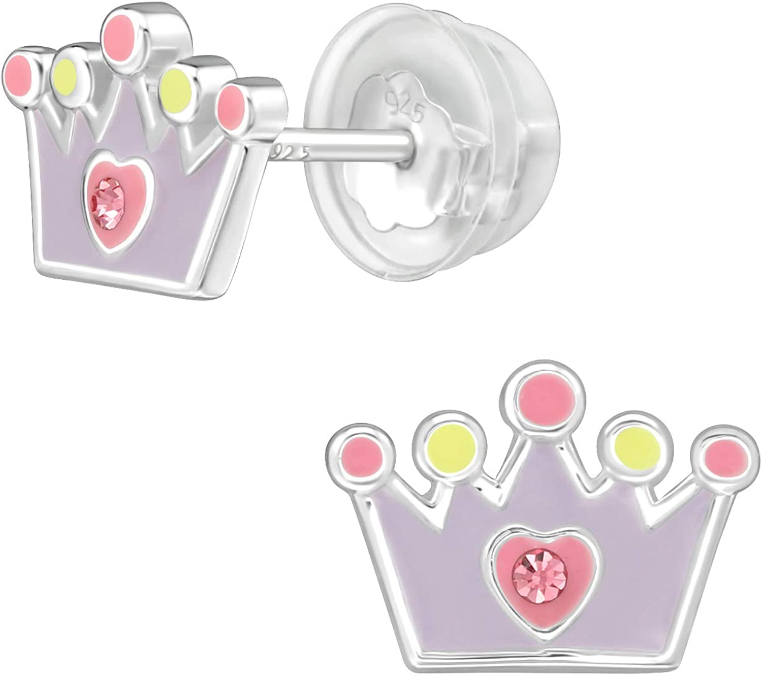 AUBE JEWELRY Hypoallergenic 925 Sterling Silver Princess Crown Stud Earrings Adorned with Crystal with Silicone Coated Push Backs for Girls and Women