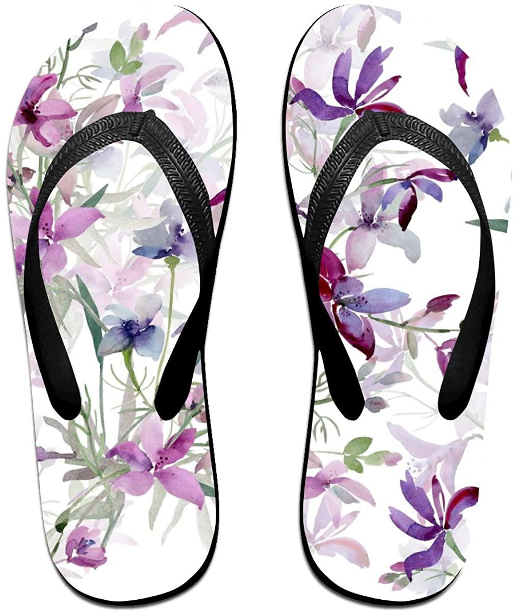 Mens Flip Flop Slippers Watercolor Wild Flowers Floral Rubber Cozy Flip Flops Outdoor Beach Sandals