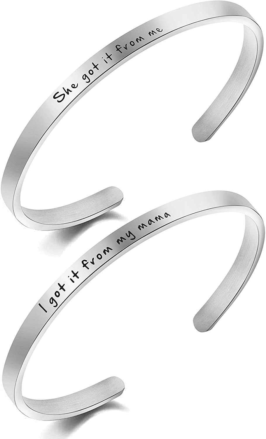Awegift Mother and Daughter Set Bracelets 2 Cuff Bangle for Women Daughter Her Best Friends Personalized Stainless Steel Jewelry Mother's Day Birthday Christmas Friendship Gifts