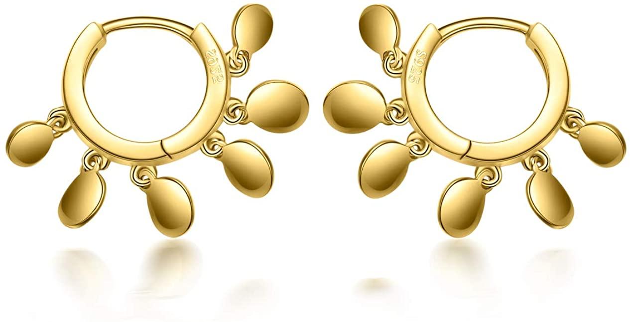 GOXO Sterling Silver Huggie Hoop Earrings with Coin Earrings 12mm for Women Girls