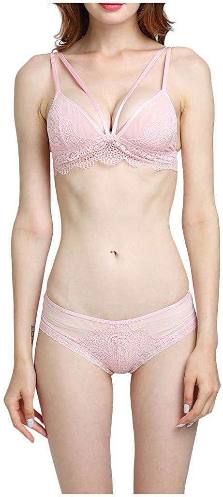 Golike Women Sexy Lace Bra Panty Set Bralette Lingerie Babydoll Bodysuit Comfortable Ultrathin No Trace Underwear