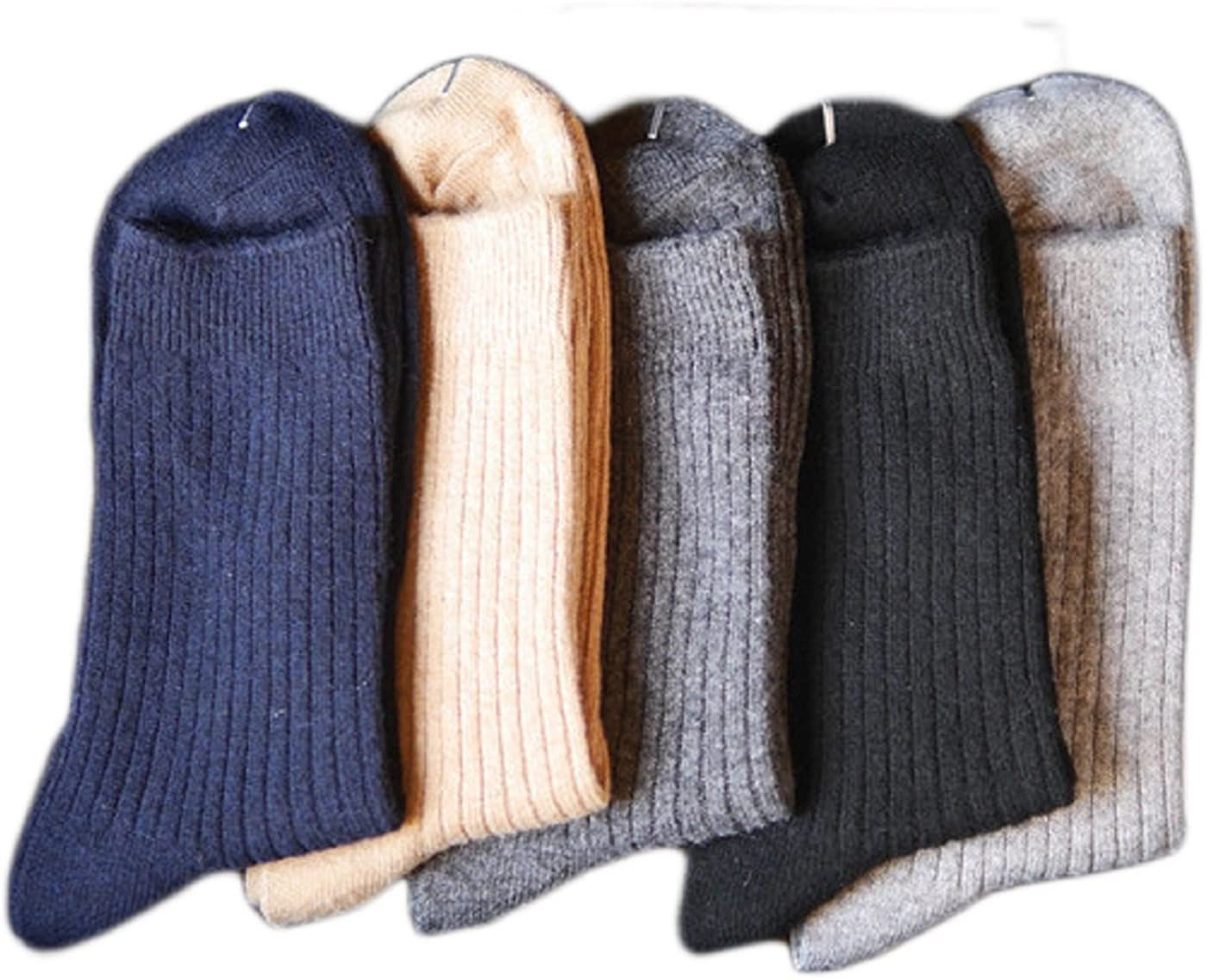 Lian LifeStyle Men's 4 Pairs Pack Wool Blend Crew Socks Size 7-9 Casual