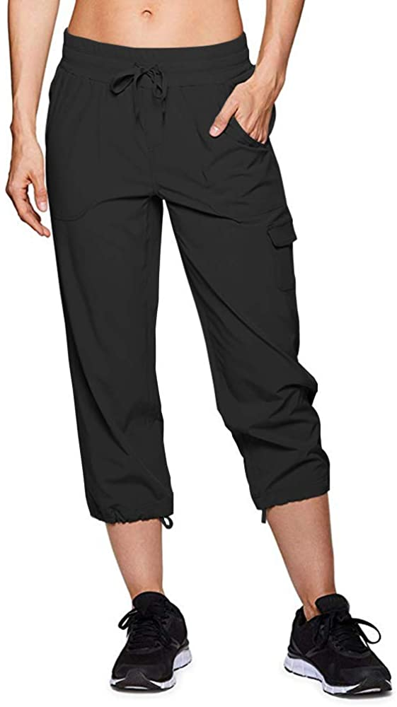 Asfixiado Women's Athletic Hiking Cargo Capri Shorts,Outdoor Quick Dry Straight Leg with Pockets for Camping Travel #2033