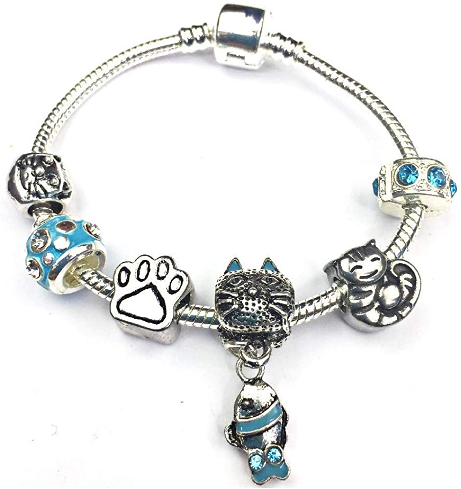 Liberty Charms Childrens 'Cool for Cats' Silver Plated Charm Bracelet. with Gift Box. Birthday Present