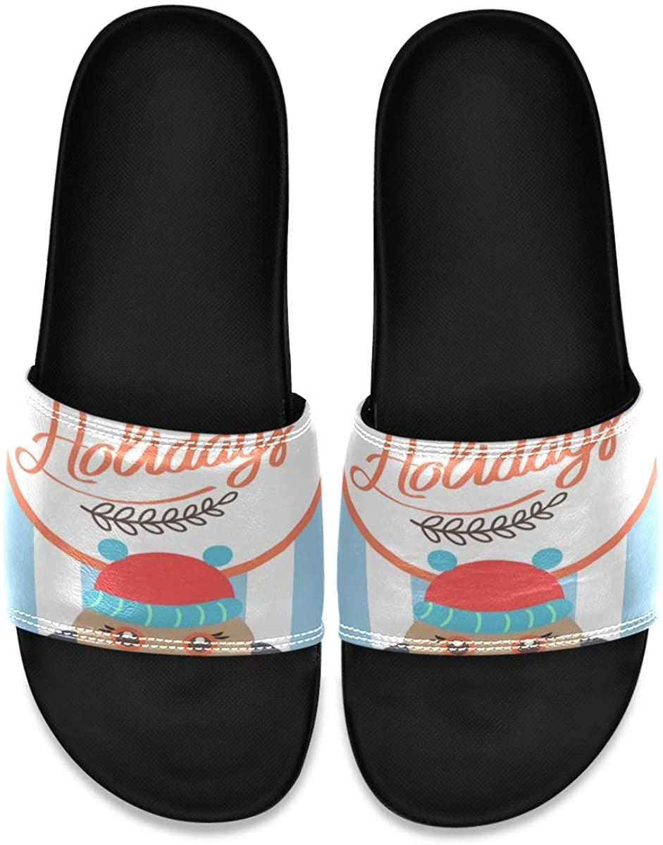 Mens Shower Slides Unique Happy Bullfinch Slide Sandal, Slippers, Sandals for Men