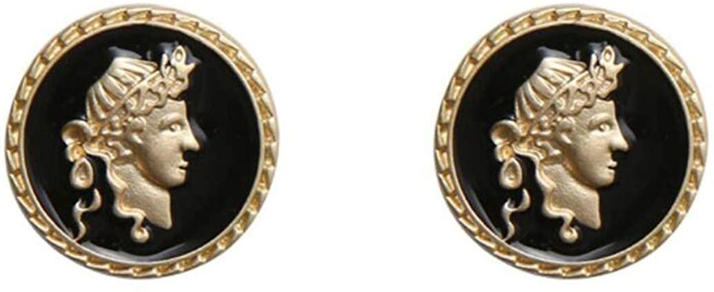 Coin Stud Earrings for Women Girls, Embossed Portrait S925 Sterling Silver Stud Earrings, Golden Black Vintage, Gifts Daily Wearing