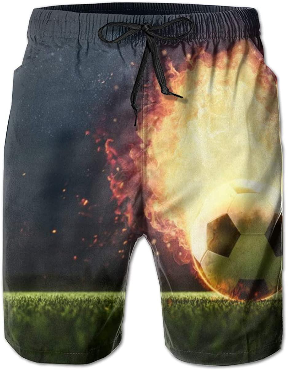 Soccer Ball with Fire Men's Beach Shorts Summer Swim Trunks Sports Shorts