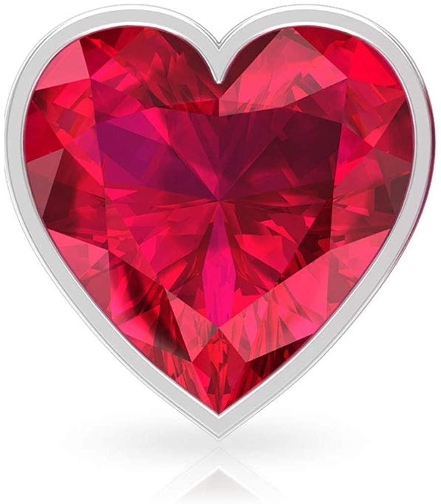 3 Ct IDCL Certified Ruby Glass Filled Stud Earring, Heart Shape Solitaire Gemstone Earring, Wedding Bridal Statement Earring, Gold Partywear Earring, Screw Back