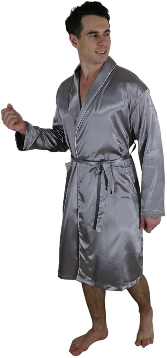 SUPER SILK Mens Long Lounge Pajama Robe/Bathrobe