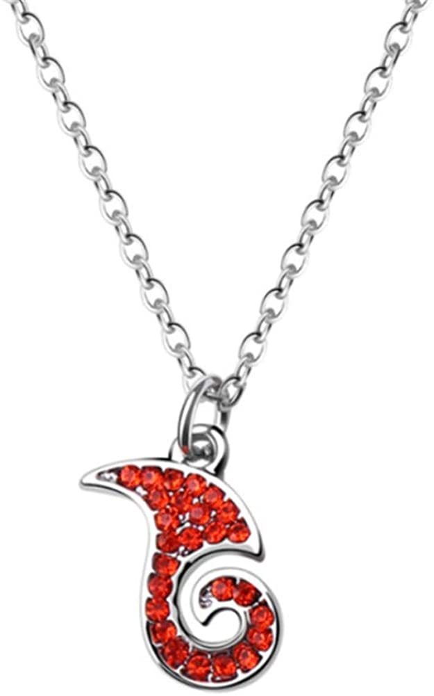 Aineecy Flame Necklace Pendant Red Rhinestone Wave Fire Shape Necklace Choker Who Changing Destiny Clavicle Chain Necklace for Boys Teen Fashion Jewelry