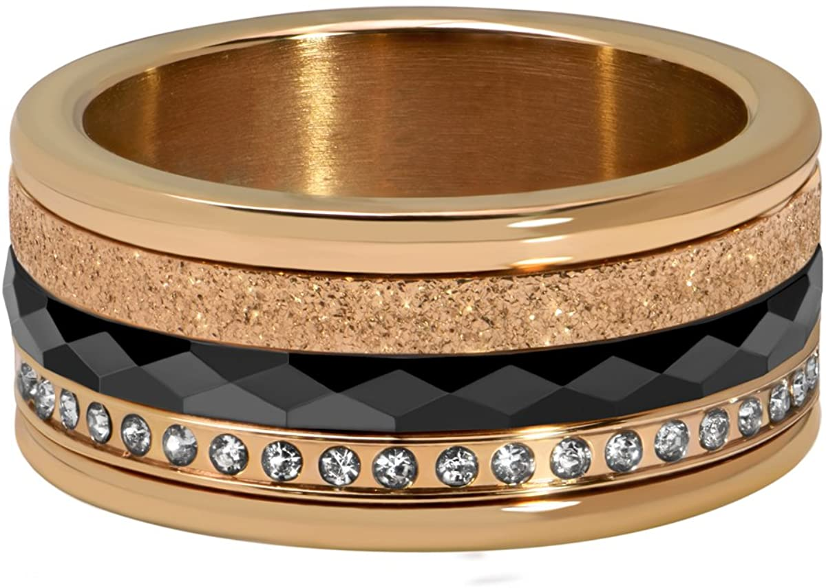 Quiges Chic Rose Gold Stainless Steel Cubic Zirconia Multi Color Stackable Ring Set with 3 Inner and 1 Base Ring