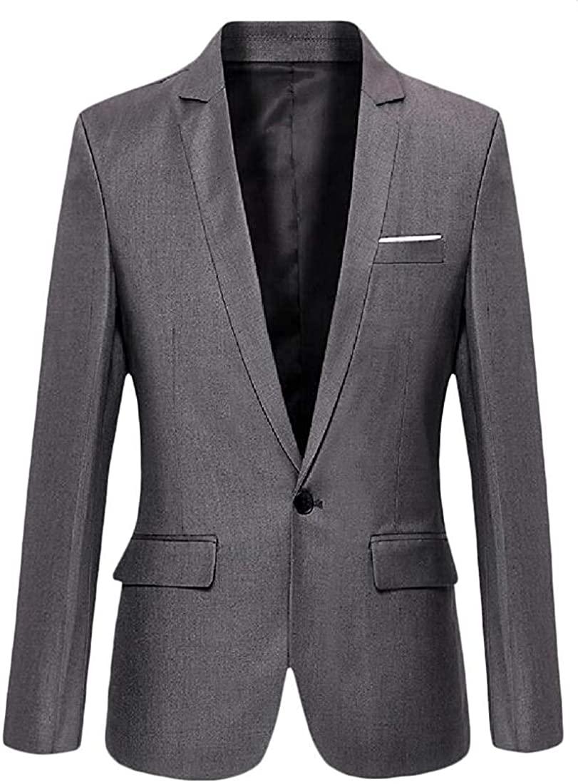 Men's Slim Fit Casual Business Lapel Solid 1 Button Dress Blazer Jacket Sport Coat,Gray,XXX-Small
