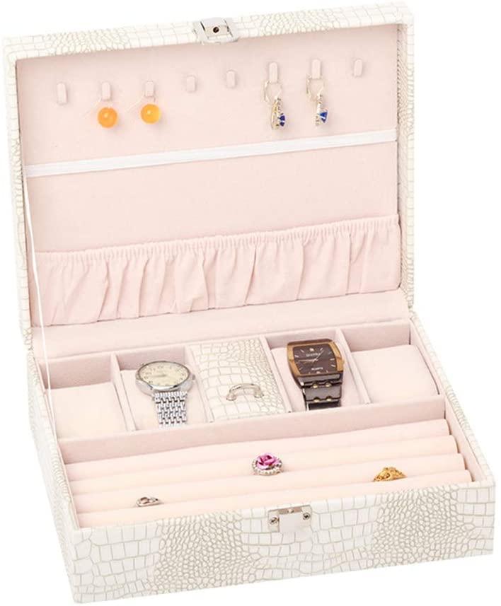 YXCM Ring Case Jewelry Tray Showcase Display Storage Organizer Box Vintage Case Multi-Function Gifts for Girls Women,White