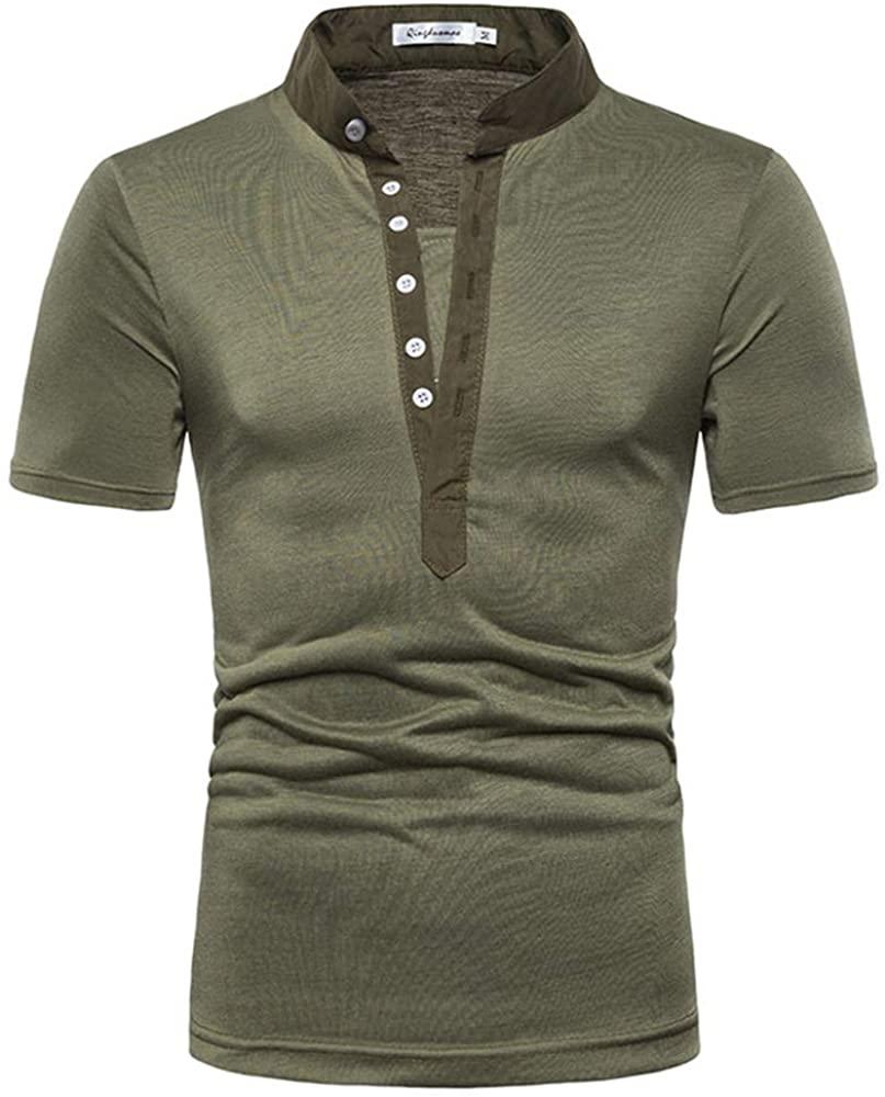 Rela Bota Mens Casual Henley Shirt - Slim Fit Basic Tee Fashion Short Sleeve T Shirt