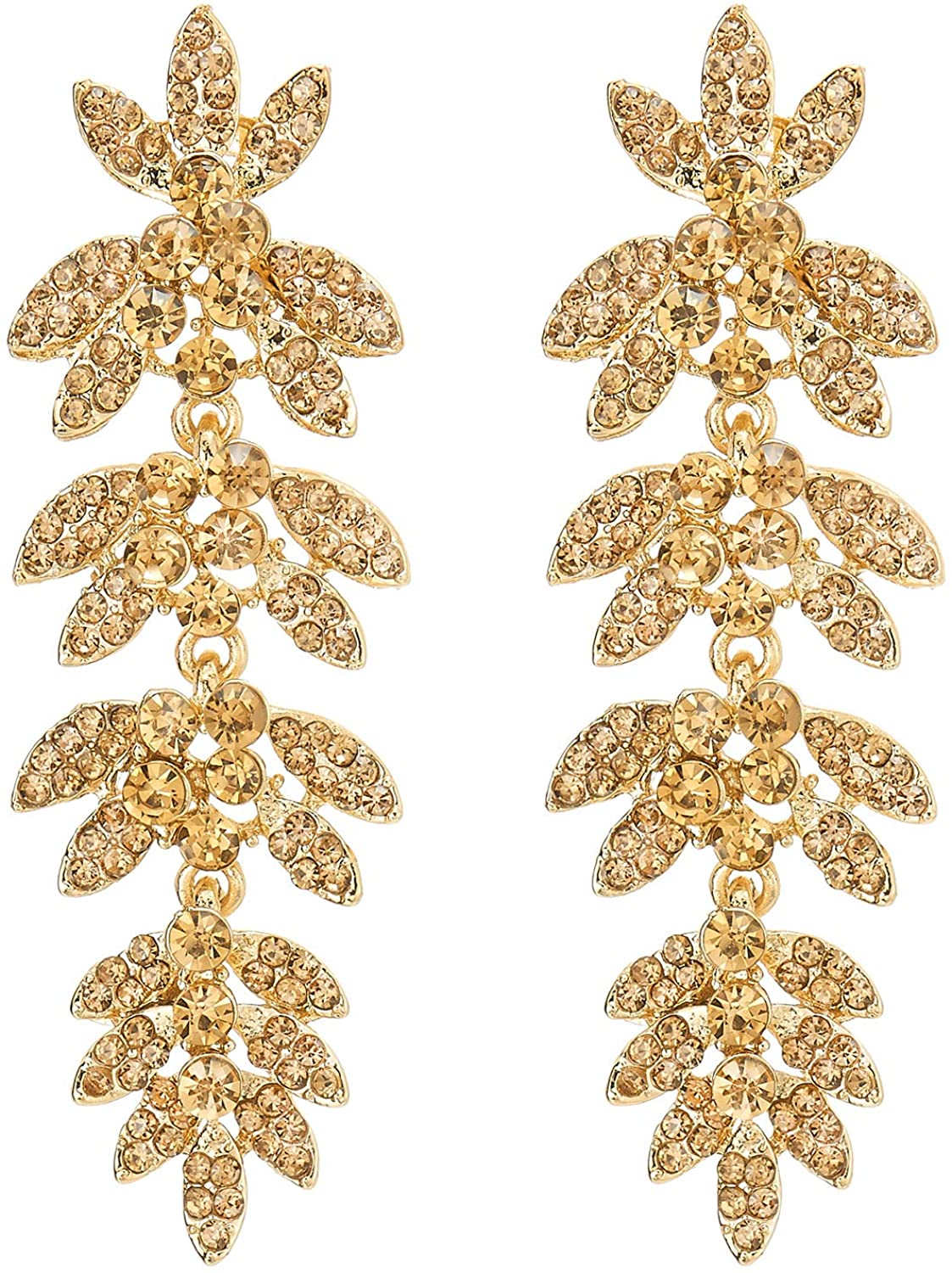 Sparkle Prom Dress Long Dangle Champagne Rhinestone Leaves Cluster Chandelier Statement Earring Gold